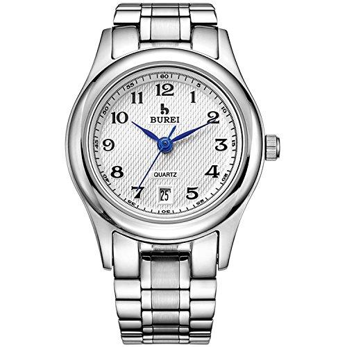 BUREI Frauen Uhren Damen Armbanduhr Casual Zifferblatt weiß mit Datum Kalender Edelstahl Armband und Arabischen Zahlen Feschenke für - Lehrer Silber Armband