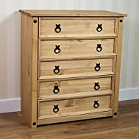 Vida Designs Corona Chest Of Drawers, 5 Drawer, Rustic, Solid Pine Wood
