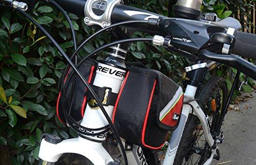 West Radfahren Fahrrad Rahmen Gepäckträger Front Tube Handy Tasche für Handy Tasche 14cm Gurt Storage Pack rot - rot