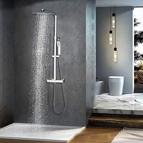 Elbe Duschsystem mit Thermostat, Duschsäule mit quadratische Überkopfdusche, Duschset mit Regendusche und verstellbare Duschstange, aus 304 Edelstahl + Messing