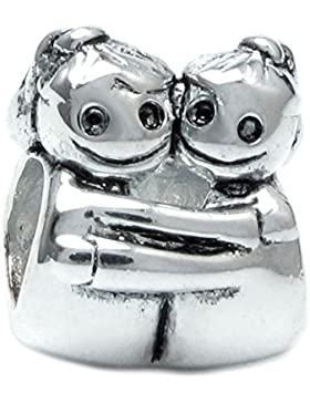 Queenberry Charm-Perle Sterling-Silber Design zwei kleine Mädchen, Freundschaft/Familie, für Pandora/Troll/europäische...