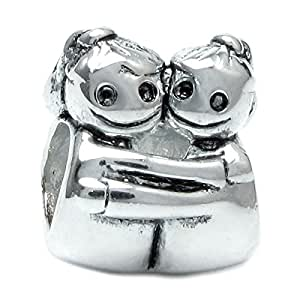Sterling Silver Love Hugs Sister Sis deux petites filles L'amitié double avec perle Motif famille f/Bracelets européens Pandora Troll