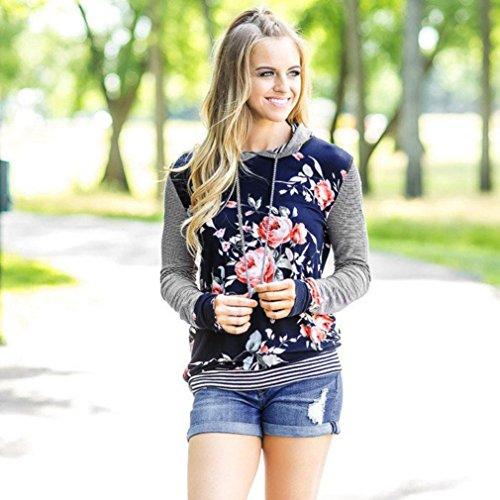 Amlaiworld Donna Ragazze Camicia a strisce floreale sciolto Felpa con cappuccio Blu