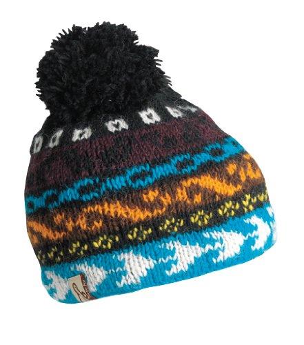 Schildkröte Fell Damen Nepal Biko Hand Knit Fleece Mütze, damen, schwarz (Nordic Hat Knit)
