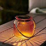 Farolillo Frasco Solar en Cristal Naranja para Jardín y Exteriores con Luz LED y Asa de Cuerda de Lights4fun