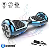 COLORWAY Hoverboard Self Balance Board Elektro Scooter Roller EU Sicherheitsstandard, mit Bluetooth Lautsprecher(Chrom balu)