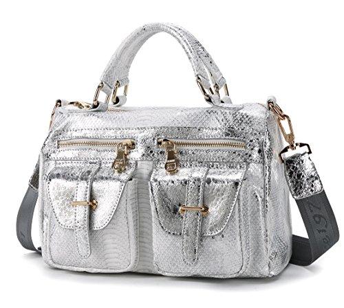 Schultertasche Damen Schlange Handtasche Kunstleder Umhängetasche Casual Henkeltasche Tasche für Frauen Silber