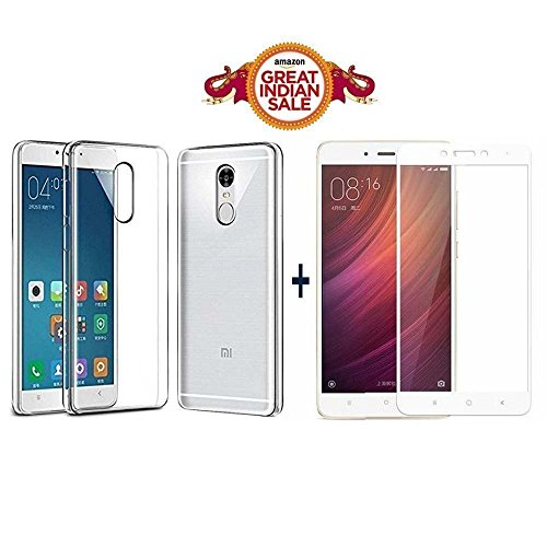 GOELECTRO Xiaomi Redmi Note 4 / Mi Note 4 / Redmi Note 4 (COMBO OFFER) Original Sleek Premium Clear Soft Back Cover Case For RedMi Note 4 -( Transparent ) + 2.5D curved 3D Edge to Edge Tempered Glass Mobile Screen Protector (White)