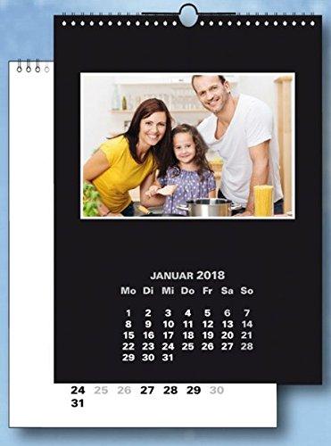 Fotokalender und Bastelkalender 2018 schwarz weiss matt, fuer Bilder 10x15 cm Hoch und Quer. 13 Blatt im Format 19x25 cm.
