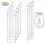 Teenitor 8 Pcs Hanging Chains with Clip & Hook for Bird Feeders Planters Lanterns and Ornaments - 4 Pieces 35 Inch & 4 Pieces 13 Inch Replacement Set of Hanging Basket Metal Chains Silver