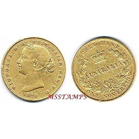 STERLINA 1870 Oro Gold Full Sovereign Vittoria Queen Victoria AUSTRALIA Sydney