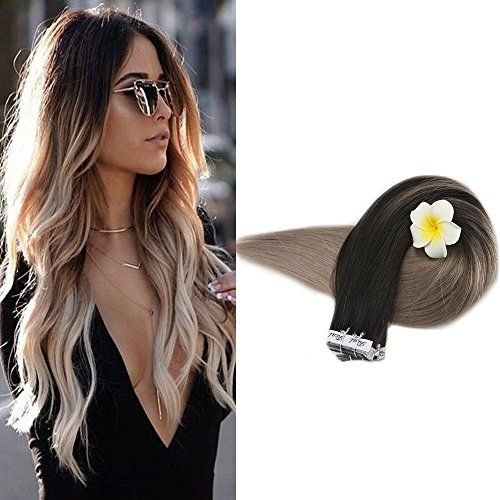 Full shine 50g non trasformati extensione capelli veri extension biadesivo 35cm 20pcs balayage tape in extensions human hair #1b con #18
