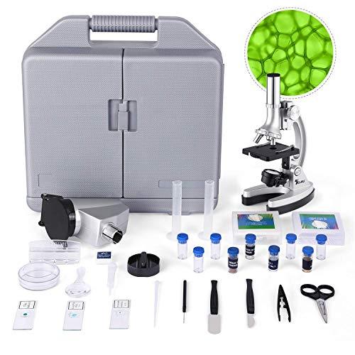 TELMU Microscopio Bambini - Ingrandimento di 300X-600X-1200X, Micro Proiettore, con Braccio in Metallo Regolabile e Luci a LED, 70pcs + Set di Accessori per l'Educazione della Inizia Bambina