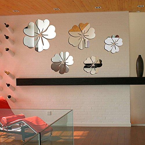 Kompassswc 3D Spiegel Wandaufkleber 5 Blumen Kronblatt Wandsticker Wandtatoos DIY Abziehbilder für Schlafzimmer Badezimmer Wohnzimmer Küche