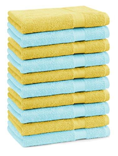 BETZ lot de 10 serviettes débarbouillettes taille 30x30 cm 100% coton Premium couleur jaune et turquoise