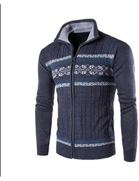 Moda Slim Cardigan uomini casuale maglione bavero, marina, L