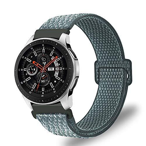 Fintie Armband kompatibel für Galaxy Watch 46mm / Gear S3 Frontier/Gear S3 Classic/Huawei Watch GT - Premium Nylon Uhrenarmband Ersatzband mit Verstellbarem Verschluss [ groß ], Sturmgrau