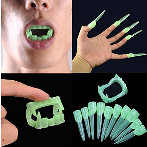 SEVENHOPE Halloween Prothese Gefälschte Fingernägel Leuchtende Hexen Vampir Zombie Dress up Spielzeug Halloween-Kostüme