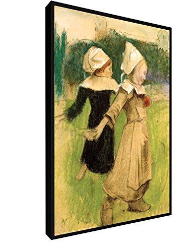 Paul Gauguin, Studie für Bretonische Mädchen beim Tanz - 40x60 cm - Leinwandbild mit Schattenfugenrahmen - Wand-Bild - Kunst, Gemälde, Foto, Bild auf Leinwand mit Rahmen - Alte Meister / Museum