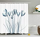 Nyngei Decon Flor Rayos X Imagen transparentede Tulipanes Efecto solarizado Inspirada en la Naturaleza con Azul petróleo