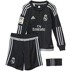 adidas 1ª Equipación Real Madrid CF SMU M - Conjunto de portero, color negro / gris, talla 98