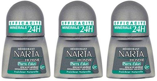 Narta–Desodorante de bola para hombre con piedra de alumbre–Eficiencia 24h–Juego de 3 unidades de 50ml