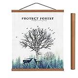ARTHOME Teak Black or White Poster Hanger Frame,Light Wood Magnetic Frames Wooden Poster Hanging Kit for Art Print or Canvas Artwork