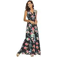 IMJONO Damen Frauen Sommer Floral Bedruckt V Neck ärmellose Maxi Casual Dress