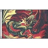 FLAGGE DRACHE TRITT ADLER ENTGEGEN 150x90cm - DRACHE FAHNE 90 x 150 cm - flaggen AZ FLAG Top Qualität