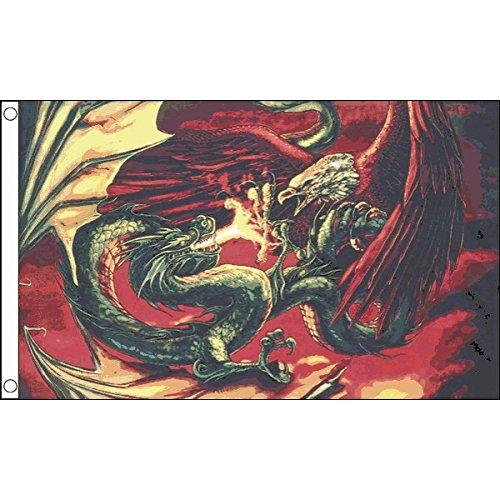 AZ FLAG Flagge Drache Tritt Adler ENTGEGEN 150x90cm - Drache Fahne 90 x 150 cm - Flaggen Top Qualität