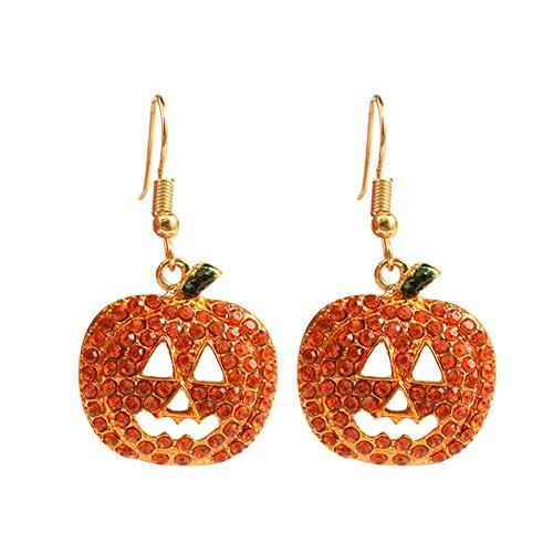 Qinlee Halloween Ohrringe Strass Kürbis Ohrhänger Mode Ohrschmuck Bankette Festival Party Schmuck für Damen Mädchen (Orange)