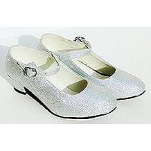 Zapatos de tacón grises con purpurina plateada para niñas y adultas, zapatos de baile para flamenco y tango, (Argenté Pailleté), 25 EU