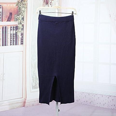 Buluke Automne Hiver couleur uni taille haute jupe jupe de laine tricot,bleu foncé