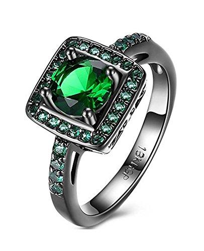Gnzoe Edelstahl Ring Damen Ringe Kristall Quadrat Form Solitärring Antragsringe Grün mit Zirkonia Gr.57 (18.1) (Titanum Verlobungsring)