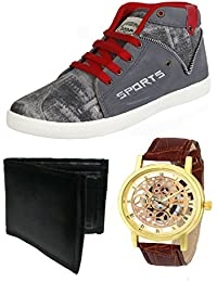 Bersache Men Combo Pack of 3 Casual Shoes With Watch & Wallet (9 UK)