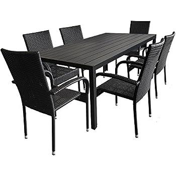 Terrassenmöbel alu  IB-Style - MADEIRA Alu Gartenmöbel 13-Teilig |6 Stapelstühle inkl ...