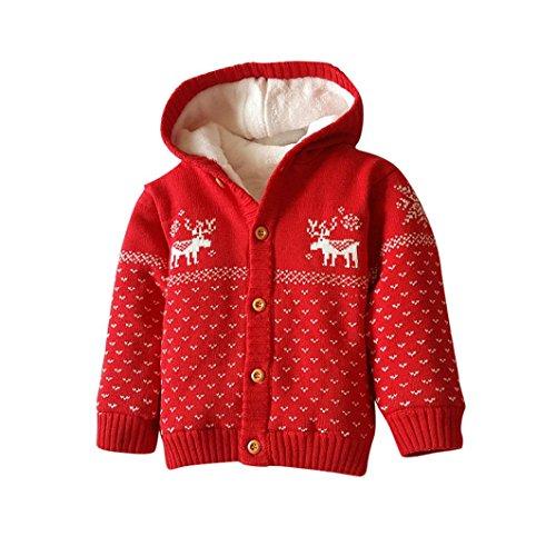 Huhu833 Baby Jacke Baby Mantel, Kleinkind Unisex Baby Button-up Baumwolle Mantel Deer Weihnachten Strickjacke (Rot, 2T-80CM) Button-up-mantel