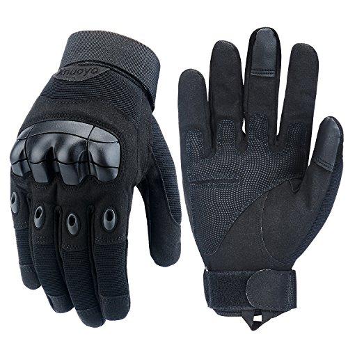 Xnuoyo Rubber Hard Knuckle Vollfinger Handschuhe Schutzhandschuhe Touchscreen Handschuhe für Motorrad Radfahren Jagd Klettern Camping (schwarz, X-Large) (Hard Handschuhe Knuckle Schwarz)