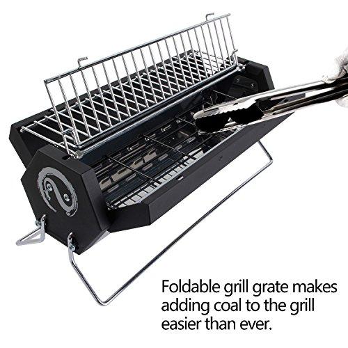 Wolfwise griglia barbeque portatile a carbonella in acciaio inossidabile 40 x 20 x 15cm - Barbecue portatile a carbonella ...