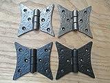 Ironmongery World 1par fundido hierro forjado a mano Vintage estilo armario de cocina armario bisagras ANTIQUE IRON/ PEWTER