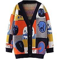 Fymia❤️❤️Cartoon Fashion Design Doodle Pullover V-Ausschnitt Strickjacke Mantel