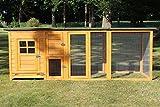 Zooprimus  Poulailler en bois pour jardin extérieure 5 poules Cage Canard 2 perchoir Nichoir 215 x 80 x 68 cm - 147 FLEXI Extra