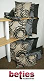 beties Mystik Mitteldecke ca. 80x80 cm abstraktes Kringel-Design in schwarz auf dunklem Background in 100% Baumwolle Platin Schwarz - 4