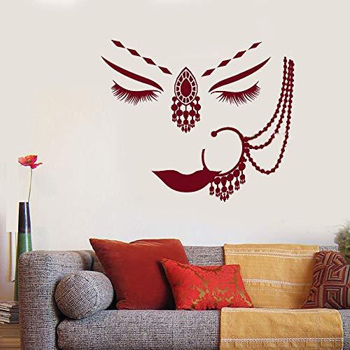 Wandtattoo Schlafzimmer Indien Hindu Girl Face Piercing Frau Gesicht Aufkleber Dekor für Wohnzimmer Schlafzimmer Mädchen Schlafzimmer