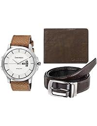 Laurels White Men's Wallet With Watch & Belt- Combo Pack (CP-INC-601-HRNT-09-VT-0209)
