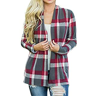 Ai.Moichien Women Long Sleeve Open Front Cardigan Plaid Patchwork Loose Casual Outwear Comfy Office Coats(Gray,L)