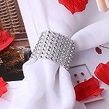 Freebily 10/30 pc 8 Reihen Strass Diamant Serviettenring für Weihnachten,Hochzeit,Taufe,Kommunion,Graduierung,Geburtstag,Bankett,usw. Silber Gold Silber 30 Pcs - 7