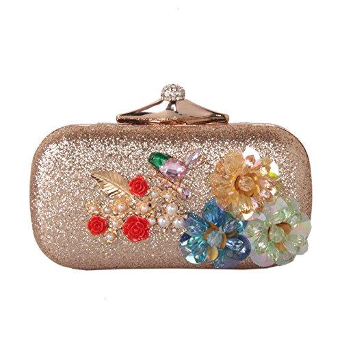 f1ac5496deeb5 Handtasche solide Harz Blume Abendessen Beutel Perlen Blumen Braut Abend  Tasche Handtasche Golden