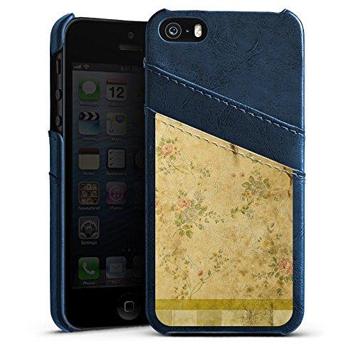 Apple iPhone 4 Housse Étui Silicone Coque Protection Rétro Mur Bandes Étui en cuir bleu marine