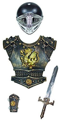 Ritter Kostüm Set 4-tlg. für Kinder - Goldfarben - Weapon Helm Brustpanzer Armschoner Schwert